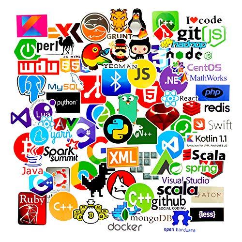 Sanmatic Adesivi per Computer Portatili Sticker Pack 72Pcs per linguaggi di Programmazione per sviluppatori includono Sticker Logo IT, C ++, Python, Linux, Swift, Ingegneri, Hacker, Geek, Coder