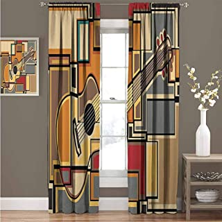 Music Decor Blackout Curtain Set Funky Fractal Geometric Square Shaped Background with Acoustic Guitar Figure Art Kindergarten Shading Insulation W52 x L54 Inch Multi