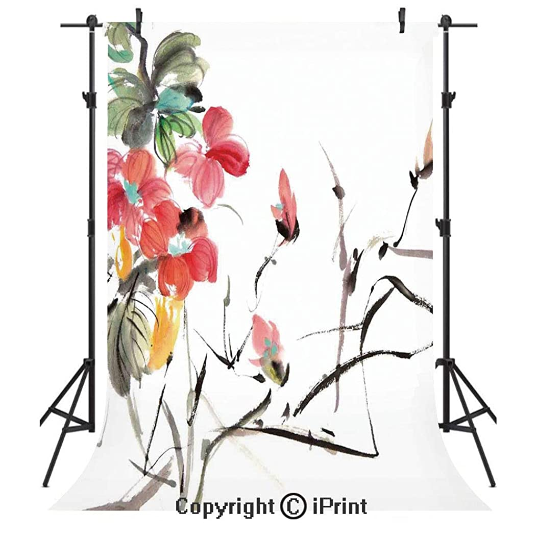 Japanese Photography Backdrops,Popular Early Period Asian Watercolors Print with Vivid Floral Motifs Art Picture,Birthday Party Seamless Photo Studio Booth Background Banner 3x5ft,Multicolor