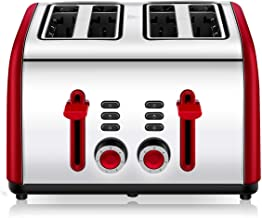Toaster 4 Slice, CUSINAID 4 Wide Slots Stainless Steel Toasters with Reheat Defrost..