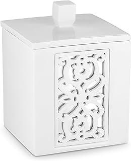 DWELLZA Mirror Janette Q Tip Holder (3.6 x 3.6 4.85) - Decorative Cotton Ball Jar- Durable Resin Swab Container- Beautiful Bathroom Vanity Accessories- Elegant Bath Storage (White)