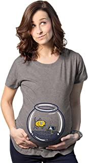 Maternity Goldfish Fishbowl Funny Graphic Pregnancy Tee for Women