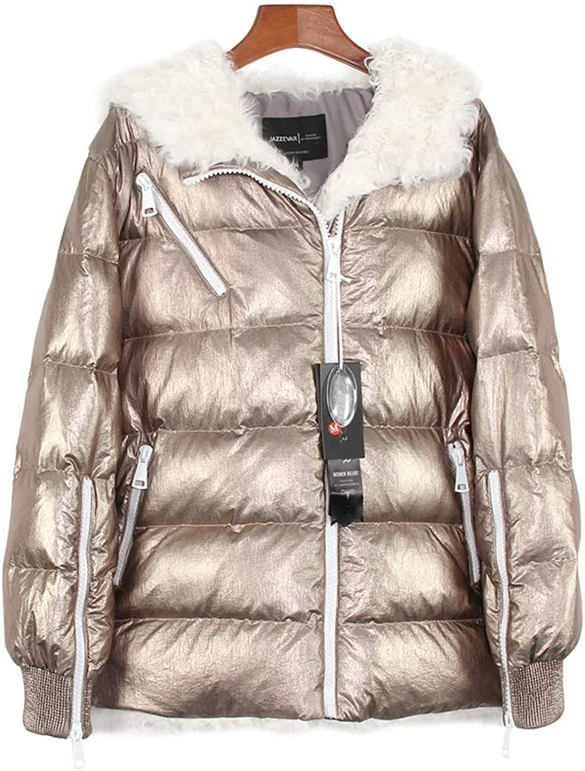 MAZF Winter High Fashion Trendy Women Silver Down Jacket Hooded Coat Parka gold