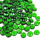 CYS EXCEL Green Glass Gemstone Beads Vase Fillers (1 LB, Approx. 100 PCS) Flat Marble Beads Multiple Color Choices Aquarium Decor Rocks Floral Stones Decorative Mosaic Glass Gem Pebbles