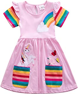JUXINSU Toddler Cotton Girl Summer Short Sleeve Dress Rainbow Pony Cartoon for Girls 3-7 Years