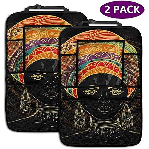 XZfly mooie Afrikaanse vrouw Aztec tribal etnische achterbank auto organisator auto rug stoel beschermer schop matten opslag zakken passen 2 Pack