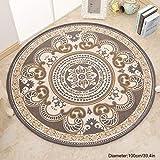 LIYANJIN Teppich, geometrisch, modern, lässig, rund, leicht zu reinigen, Flecken- / verblasst Nicht, abstrakt, zeitgenössische Farbblock-Boxen, weich, Wohn- und Esszimmer-Teppich, D, 100 cm