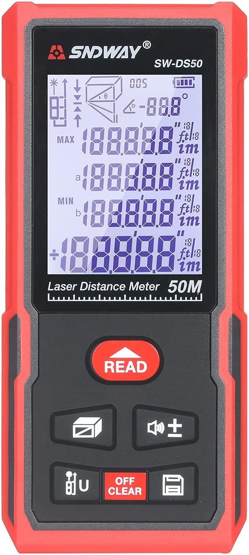 Zwbfu 50M Medidor de distancia portátil Telémetro digital Regla electrónica infrarroja de alta precisión inteligente Regla Instrumento de medición de distancia