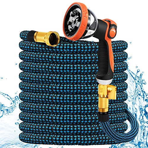 Expandable Garden Hose 50ft, Flexible No-Kink Water Hose with 10 Metal Spray Nozzle, 3/4'' Solid Brass Fittings, Portable Hose for Gardening