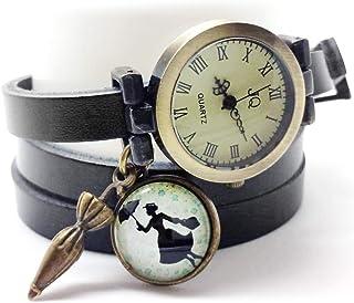Orologio multi-fila cabochon cuoio- nero - Mary Poppins - Regalo di Natale per idea regalo moglie - San Valentino- (ref.95...