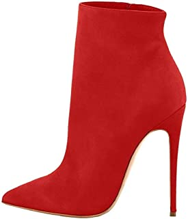 e4383f1bde546e elashe Bottes Classiques Femme | 12cm Bottine à Talon Haut | Zip Stiletto  Talons Hauts Ankle