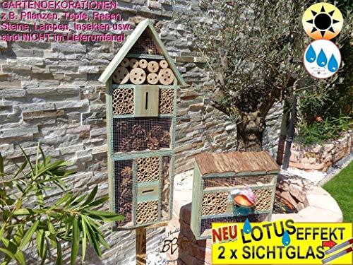 Oelbaum 2 x Bienenhotels, mit Lotus+2xBrutröhrchen, Spitzdach groß, Flachdach Insektenhaus + Bienenhaus mit Bienentränke, Insektenhotel, mit Lotus+2xBrutröhrchen, Insekten Florfliegen Marienkäferhaus