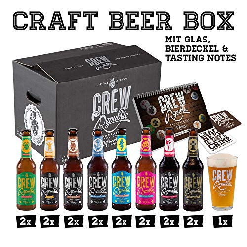 CREW Republic Craft Beer Geschenkbox, Biergeschenk inkl. Verkostungsglas und Tasting Notes (16 x 0,33 l)