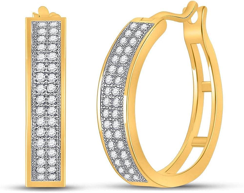 10kt Yellow Gold Round Diamond Hoop Earrings 1/5 Cttw