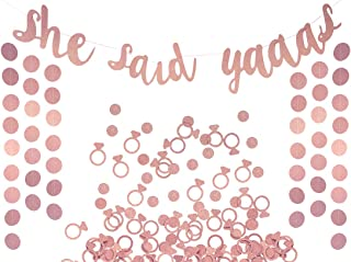 She Said Yaaas Banner, Garland & Confetti Set - Bachelorette, Engagement or Wedding Party Decorations - Sparkly Decoration...