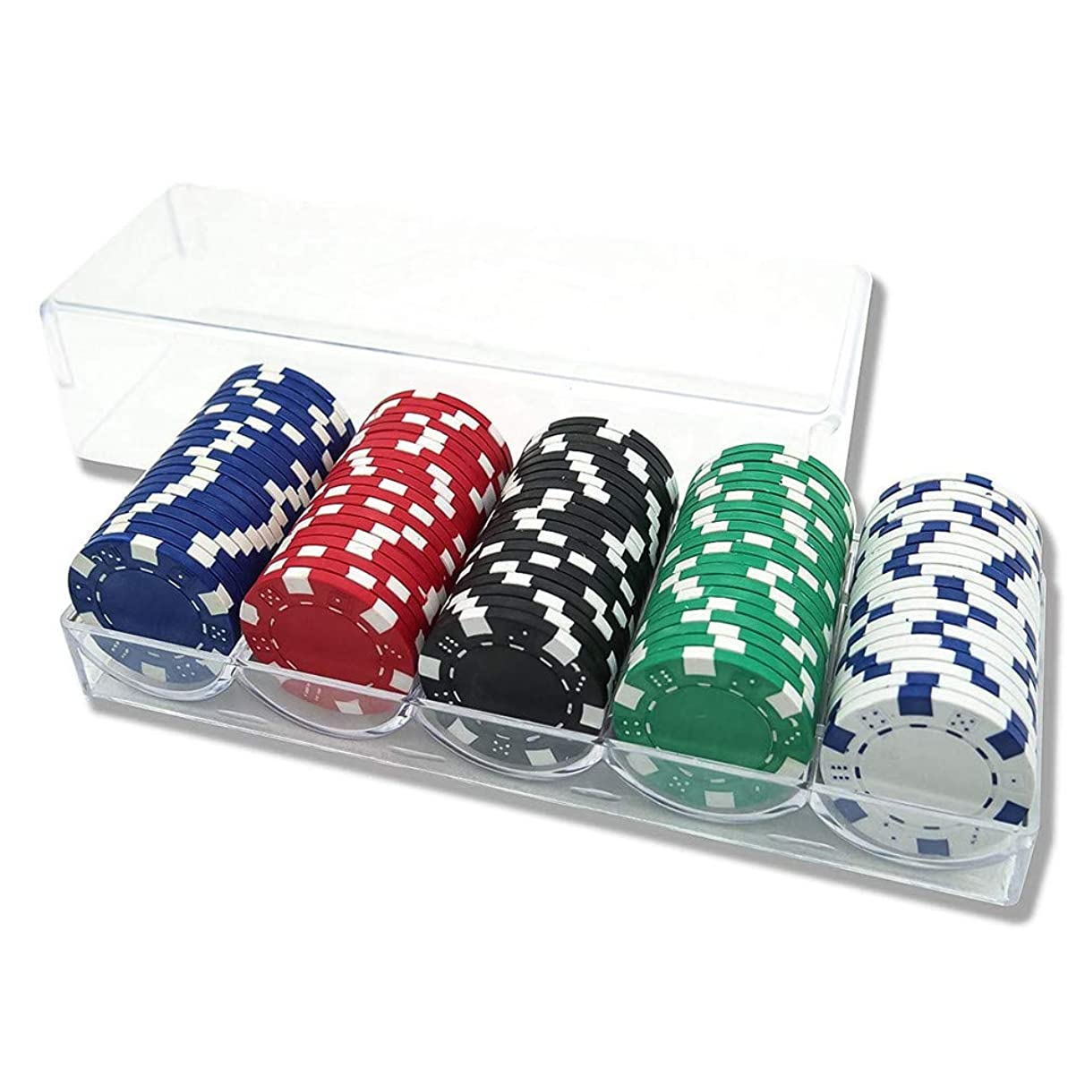 INHE 100pcs Poker Chips Dice 5 Colors, Include Clear Acrylic Poker Chip Rack