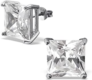 925 Sterling Silver 10mm Square Crystal CZ Stud Earrings 17522
