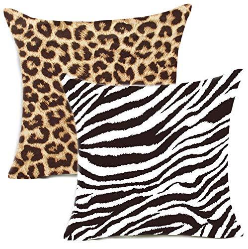 Kissenbezüge, 45 x 45 cm, 2 Stück, Baumwolle, Tier-Design, Leopardenmuster, Überwurf, Kissenbezug für Sofa, Stuhl, Schlafzimmer, Dekoration, 45,7 x 45,7 cm