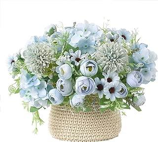 Tutuziyyy Artificial Flowers 7 Branches Silk Camellia Fake Daisy Flowers Leaf Hydrangea Wedding Floral Decor Bouquet,Pack of 2 (Blue)