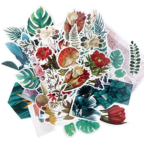 FLOFIA 120 Pcs Sticker Pflanzen Blumen Sticker Aufkleber Scrapbooking Sticker für Notizbuch Fotoalbum DIY Ephemera Set für Bullet-Journal Tagebuch Planer Laptops