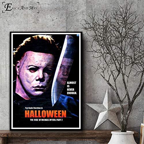 Halloween Horror Leinwanddruck Moderne Malerei Poster Wohnzimmer Dekoration Wandkunst Bild,Rahmenlose Malerei-80X120cm