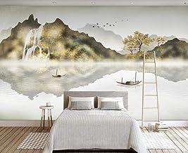 Behang 3D Behang Muurschilderingen Gouden Landschap Waterval Eenvoudige Muurschildering 3D Slaapkamer Behang voor Woonkame...