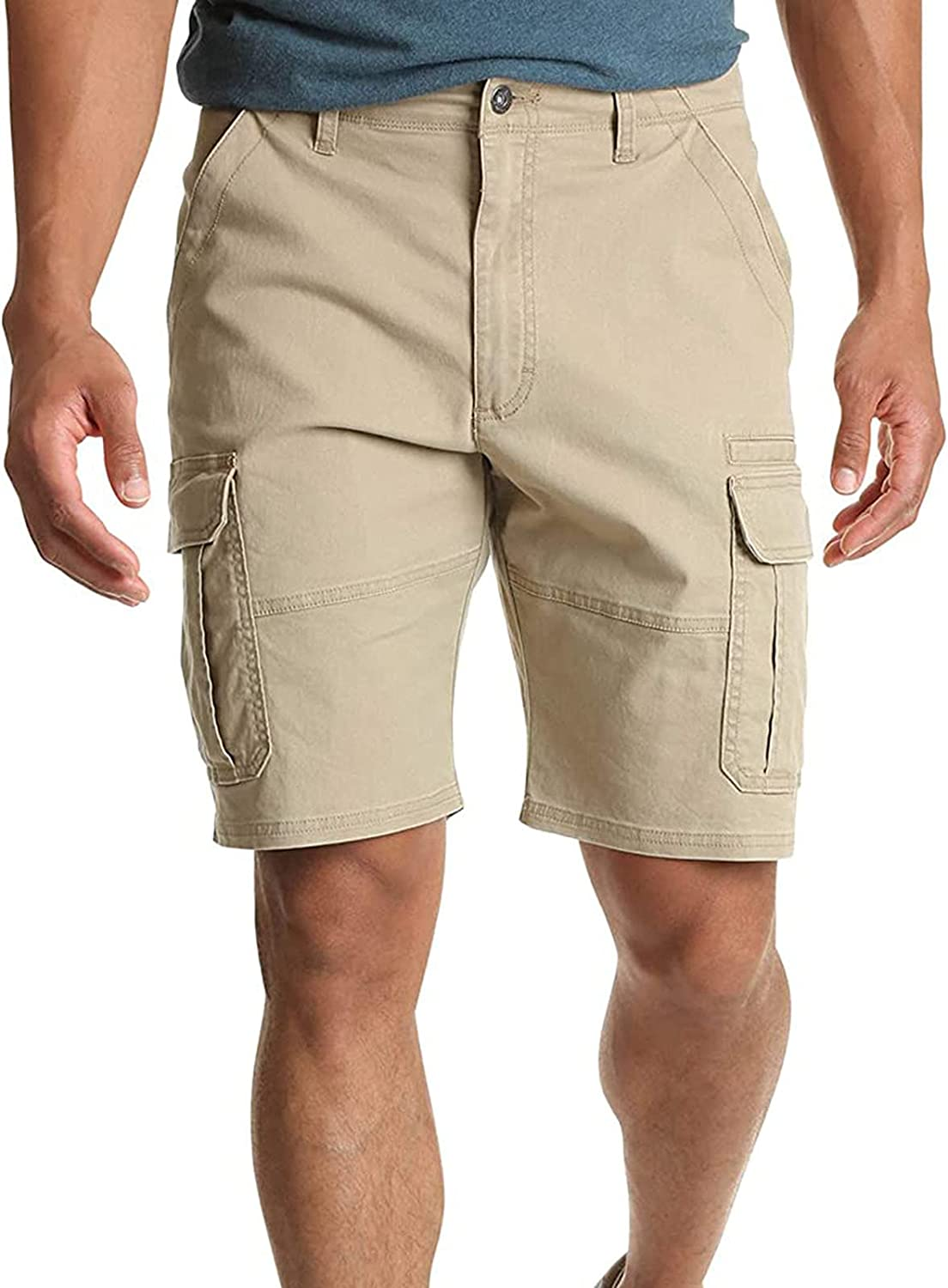 Men's Classic 10-Inch Cargo Shorts, Casual Pocket Tooling 5-Point Pants