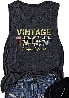 Vintage 1969 Original Parts Tank top Women 50th Birthday Gift Vest Casual Summer July 1969 Cami Shirt