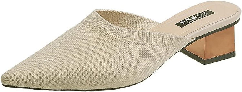 Women's Warm Knitted Mid Block In stock Outstanding Slip-on Backless Shoe Mule Heeled