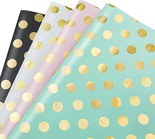 MOOKLIN ROAM Papier Cadeau, Lot de 4 papier d'emballage d'or Motif en Points pour Anniversaire, Vacances, Mariage, Cadeau ...