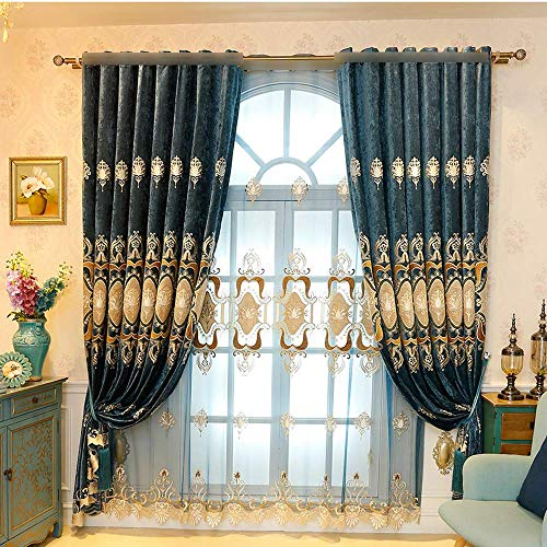 ZZCZZC European Luxury Room Darkening Grommet/Eyelets Top Curtains for Bedroom Embroidered Chenille Blue Window Curtain Panels Draperies for Bedroom/Sliding Glass Door 2 Panels Each W114 L96 Inch