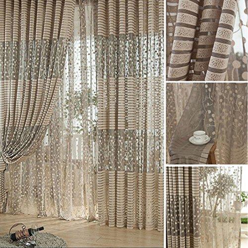 Demiawaking Wohnzimmer Jacquard Voile Fenster Vorhang Verdunkelungsvorhang Panel Vorhänge Schal Vorhang