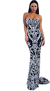 Sexy Bra Strapless Sequin Wedding Evening Party Maxi Dress