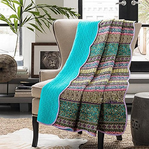 Vivilineneu Quilted Throw Blankets 100% Cotton Reversible Bohemian Style Coverlets Bedspread Lightweight Printed Bed Throws for Couch Sofa Chair (230 * 250cm, Turquoise Blue)