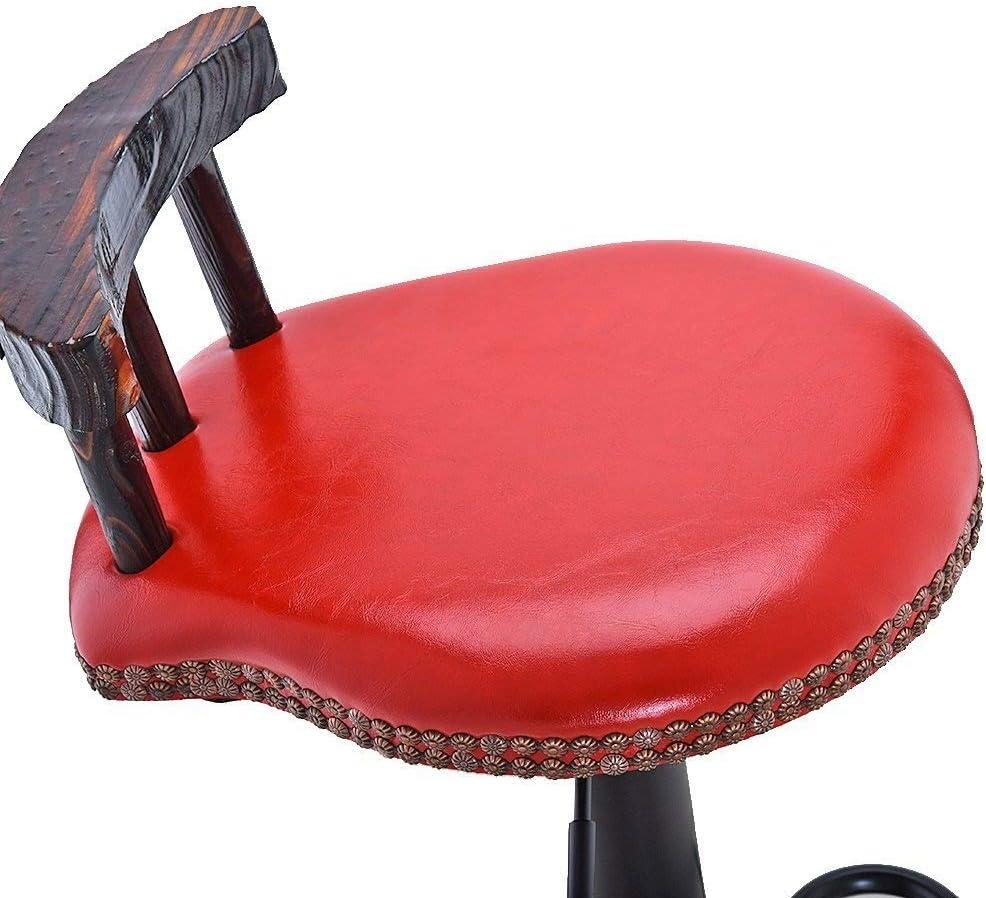 YUXO-COWER Tabouret de Bar Retro Bar Tabouret Pivotant Café Chaise En Cuir PU Surface Chaise Réglable Debout Chaise (Color : Brown) Red