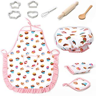 Kids Chef Play Set,Vuffuw 11pcs Cooking Play Set Kitchen Role Play Set With Dress Up Costume And Kitchen Accessories Chef Set Kids Aprons Kids Pretend Play Perfect Gift For Childs