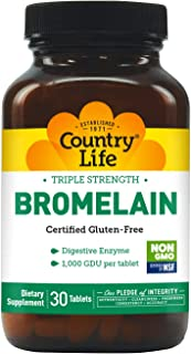 Country Life Triple Strength Bromelain, 500 mg, 2,000 GDU per Gram, Tablets, 30-Count