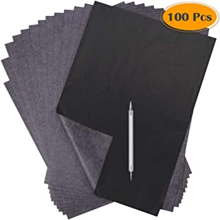 Selizo 100 Sheets Carbon Transfer Tracing Paper Black Copy Graphite Graphic Paper and Embossing Tracing Stylus for Wood Bu...