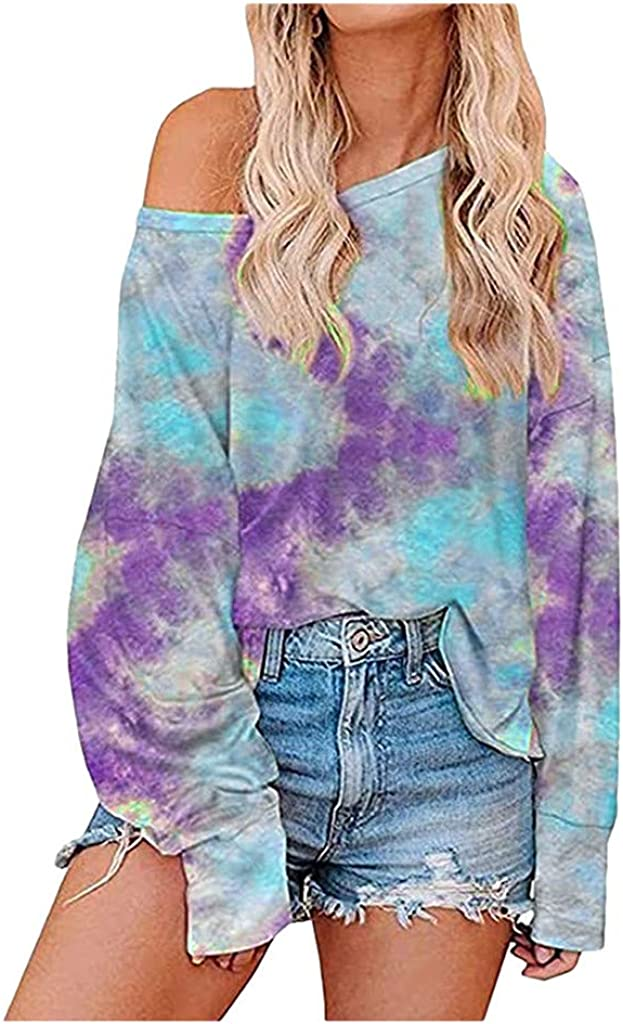 Women's Sweatshirts Loose Casual Fashion Tie-Dyed Printed Long Sleeves Crew Neck Pullover Sweatshirts Blouse Tops