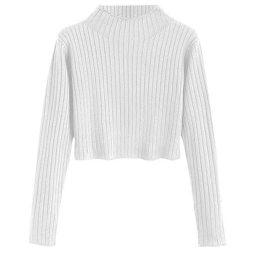 3fbbf734da ZAFUL Women s Mock Neck Long Sleeve Ribbed Knit Pullover Crop Sweater
