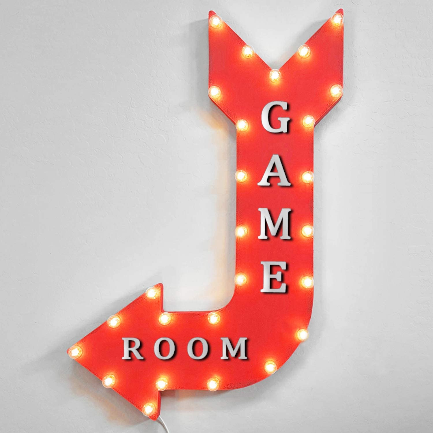 Max 88% OFF Game Room Gaming Mesa Mall Gamer Arcade Rustic Marquee Light Metal Up Arro
