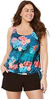 Swimsuits For All Women's Plus Size Side Tie Blouson Tankini Set with Cargo Short