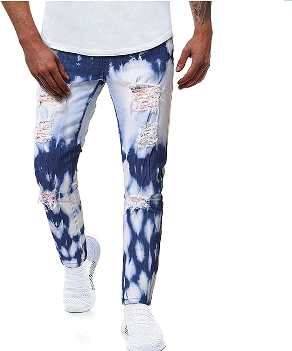 Tayaho Men's Ripped Skinny Surprise price Slim Patch Fit Embroidery Jeans Perso Max 48% OFF