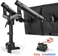 Dual Monitor Stand Mount - Fully Adjustable Aluminum Mechanical Spring Double Arm Desk Mount, Tilts, Swivels - Computer Riser Clamp & Grommet Base Fits Two 17-32 Inch Screens-Holds up to 17.6 lbs