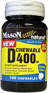 Mason vitamins Vitamin D3 (cholecalciferol) 400 iu Chewable, Vanilla Flavor, 100-count Bottles (Pack of 2)