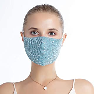 Women's Fashion Sequin Face Coverings Bandanas, Reusable and Washable. (1 PCS, Blue)
