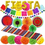 ZERODECO Fiesta Decoraciones del partido, ventiladores multicolor Tabla mexicana Runner Picado Banner Fiesta de la hoja de papel Globos Pompoms Círculo puntos Garland de cumpleaños