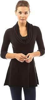 Women Cowl Neck A-Line Tunic Sweater