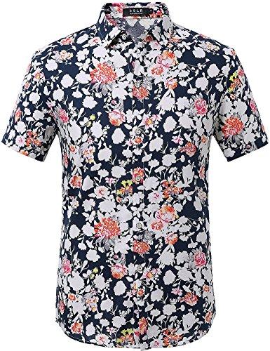 SSLR Men's Summer Floral Button Down Casual Short Sleeve Shirt (Large, Blue Red 1#)