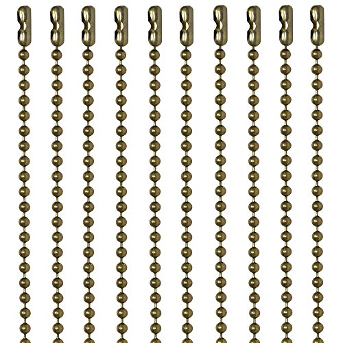 30 Inch Antique Brown Finish Number 3 Ball Chain Necklaces 10 Count